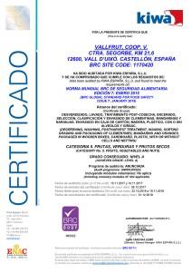 Certificate BRC Vallfrut 2017-2018