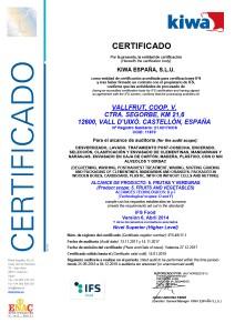 Certificate IFS FOOD Vallfrut 2017-2018