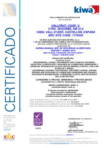Certificado BRC Vallfrut 2017-2018
